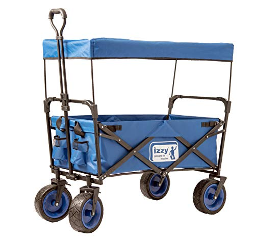 Izzy Bollerwagen faltbar Dach Metall Faltwagen klappbar Außenschubkarre Strandwagen Gartenanhänger Transportwagen für alle Gelände geeignet (Handwagen - mit Bremse und Dach)