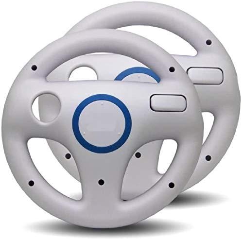 Link-e - Confezione di 2 volanti compatibili con controller Wiimote su console Nintendo Wii / Wii-U, colore: Bianco