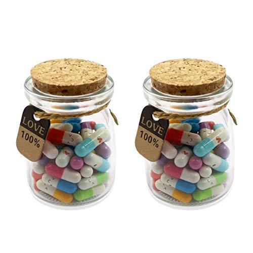 Mezhixin Capsule Letters Message in Glass Bottles, Cute Smiling Face Love Friendship Letter Color...