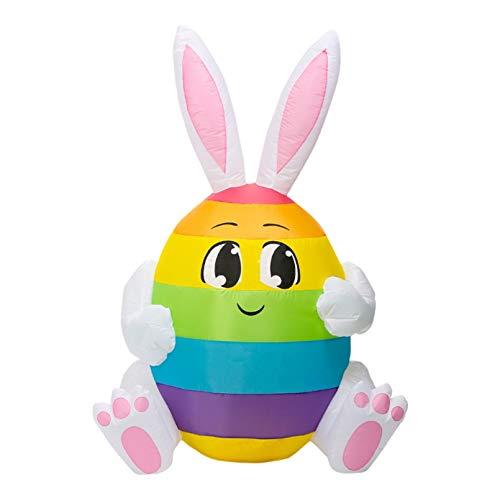 QJHLG 1,5 m hinchable de conejos de Pascua con luz LED, luz nocturna, figura de patio o jardín, juguete de jardín, decoración para fiestas