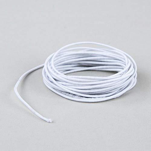 Rayher 55940102 Gummifaden, 2 mm ø, Rolle 5 m, weiß, elastische Gummischnur, zum Nähen von Behelfsmasken, für Armbänder usw.
