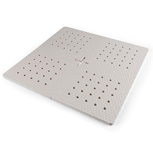 BOWERBIRD Original Anti-Fatigue Shower Stall Mat - Extra Thick and Soft Foam Material Comfortably Cushions Your Feet - Square - 4 Interlocking Tiles