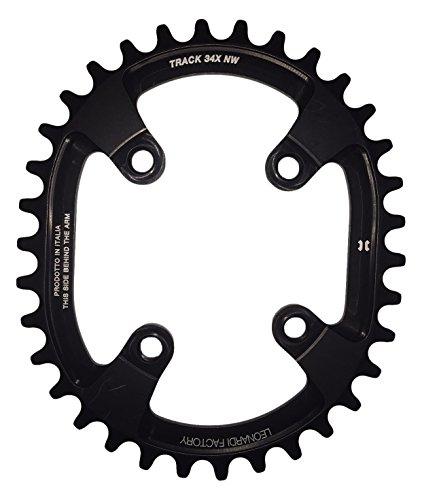 Leonardi Factory Oval Track BCD 76 Plato De Bicicleta, Hombre, Negro, 34