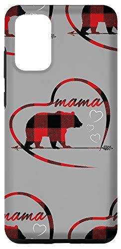 Galaxy S20+ Mama Bear Phone Cases Red Plaid Heart Cute Phones Mama Bear Case