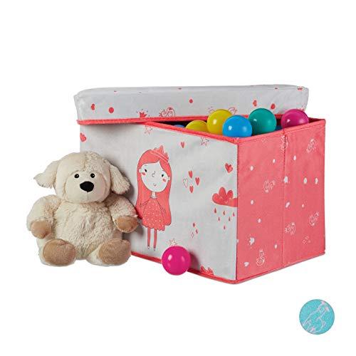Relaxdays Sitzbox Kinder, Staubox mit Deckel, Spielzeug Aufbewahrung, faltbar, Prinzessin Motiv, Mädchen, 33 l, rosa