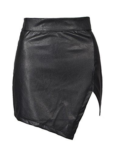 Choies Women's Choies Women Cut Out Mid Waist Black Mini Asymmetric Hem PU Skirt M