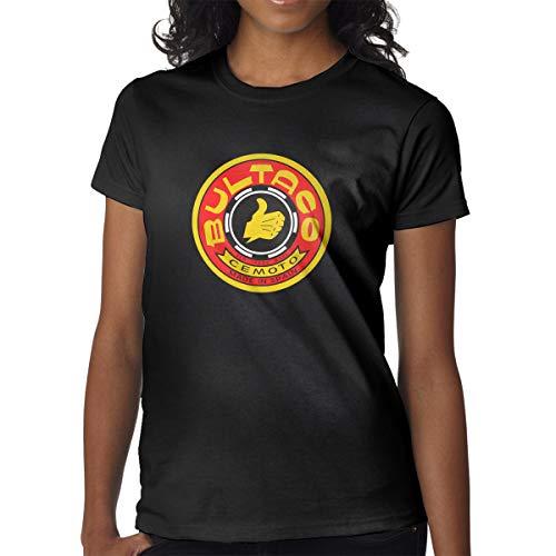 PEIENzhang Bultaco-Logo Woman Short Sleeve T-Shirt Casual Jersey Crewneck Black