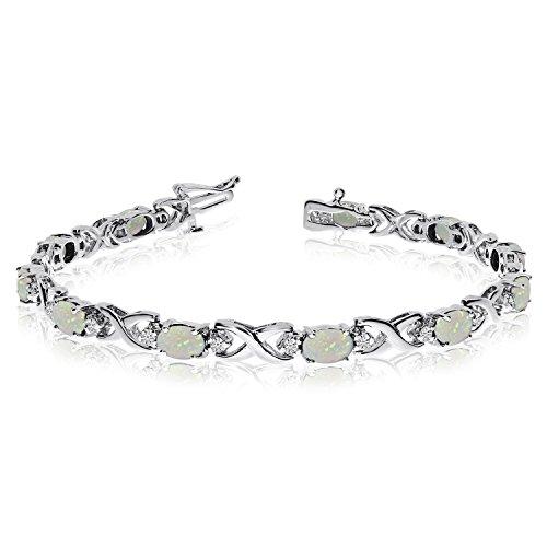 14 K oro blanco natural Opal y diamante de tenis pulsera
