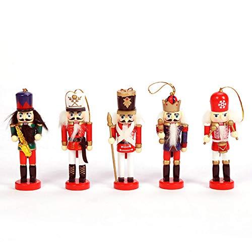 Clevoers Weihnachten Nussknacker 5PCS 5-Zoll Handbemalter Deko-Nussknacker Soldat Holz Nussknacker Figuren Nussknacker Puppe Hängende Ornamente Für Christbaumschmuck