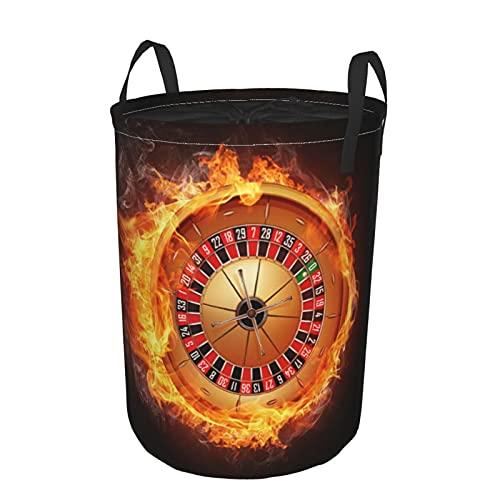 Cesto de lavandería redondo, ruleta de casino, cesto de lavandería plegable impermeable con cordón,19'X14'