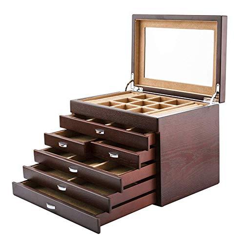 ALIANG Caja de Madera de múltiples Capas, joyería, Pendientes, Pulsera, Anillo, Caja de colección de Almacenamiento
