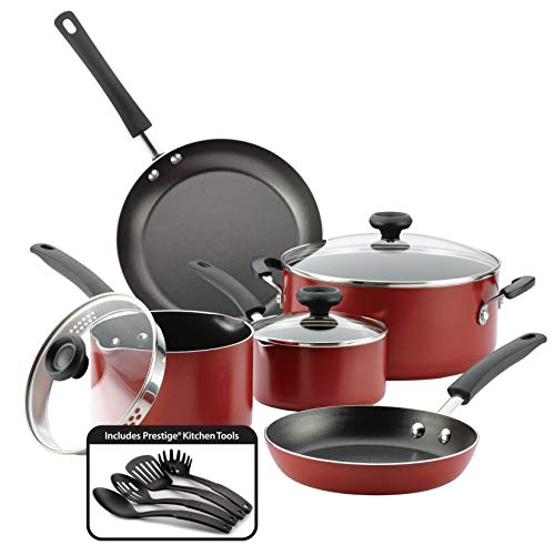 Farberware 22064 Easy Clean Aluminum Nonstick Cookware Set, 12 Piece