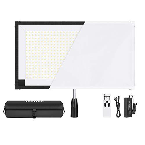 Neewer Rollable 30x53cm Flexible LED Lichtpanel auf Stoff 80W 5600K 512 LED Lichtpanel mit Griff Fernbedienung Diffusortuch Tragetasche für Reisende Filmemacher und Fotografie im Freien