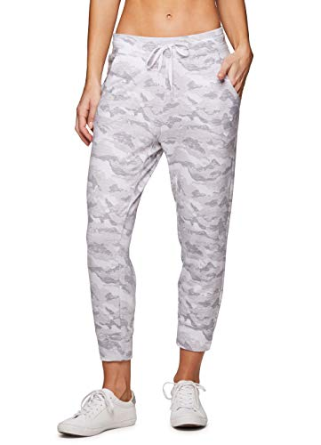 RBX Active Women's French Terry Jogger Capri, Drawstring Waist Breathable Lightweight Crop Jogger Camo Sweatpant with Pockets Cropped White Camo M