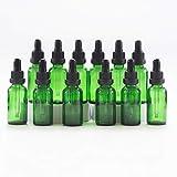 Yizhao Verde Frasco Cuentagotas Cristal 30ml, Botellas Cuentagotas con [Pipeta Cuentagotas Cristal], para Aceite Esencial, Masaje,Fragancia, Aromaterapia, Laboratorio, E-Líquidos - 12Pcs