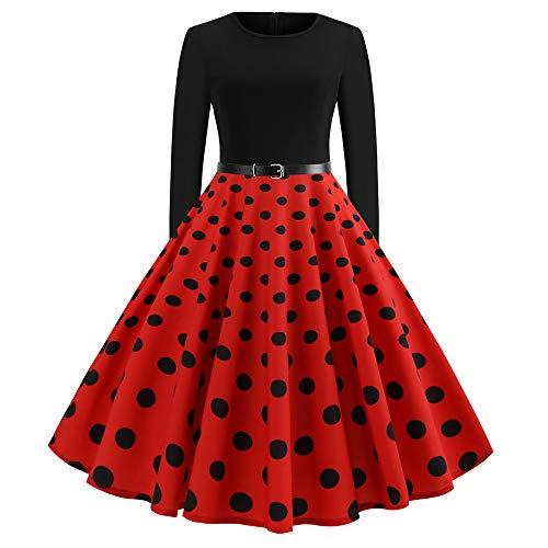 YWLINK Damen Klassisch Retro Lange Ärmel Faltenrock O Kragen MäDchen Polka Dot Rockabilly Party Prom Swing Kleid(XXL,Rot)