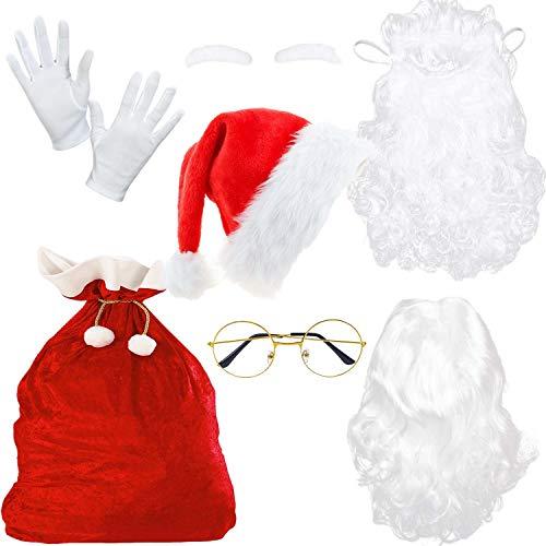 EMIN Costume da Babbo Natale composto da parrucca, guanti, sacco di Babbo Natale e occhiali per Natale