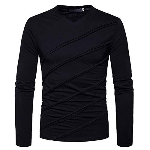 WLZQ Autumn and Winter Mens Long-Sleeved T-Shirt Mens Sweater Mens European Size Fashion Long-Sleeved Mens V-Neck Solid Color T-Shirt Mens Long-Sleeved T-Shirt Black
