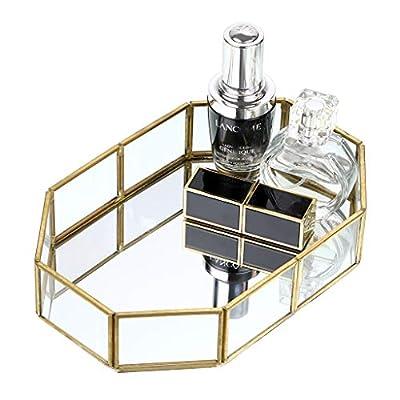 Hipiwe Gold Mirrored Makeup Tray Gold Metal Decorative Jewelry Tray Vanity Cosmetic Perfume Organizer for Dresser, Bathroom, Bedroom,Home Decor