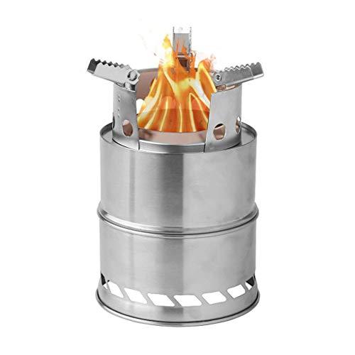 SOHOH Estufa De Camping Acero Inoxidable, Estufa De Leña Ligera Estufa De Alcohol Solidificado Portátil Senderismo Al Aire Libre Picnic BBQ Kit De Cocina Al Aire Libre
