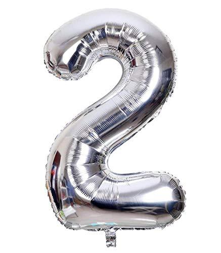Globo Número Multicolor Decoración de Boda Aniversario Cumpleaños Suministros de Fiesta Happy Birthday para Adultos y Niños Apto para Helio (45cm/Platero, Número 2)