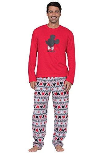 PajamaGram Mens Pajamas Set Cotton - Mickey Mouse Pajamas, Red/Gray, MD
