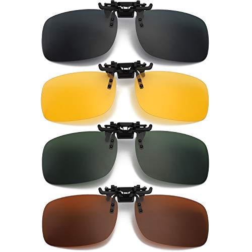 Hifot Clip Gafas de Sol polarizadas Lentes 4 Piezas, Flip up Gafas de Sol para Mujer Hombre, Suplementos de Sol para Gafas graduadas