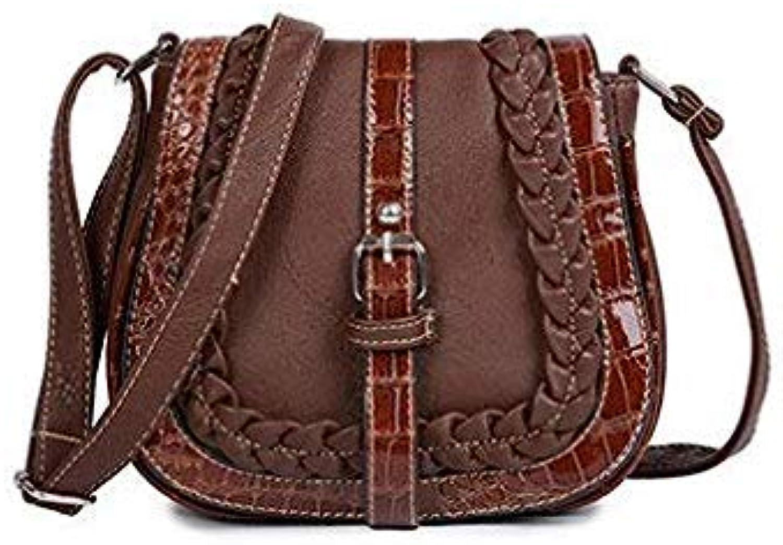 Bloomerang 2018 Vintage Elegant Wickerwork Female Handbag Women Crossbody Bag Ladies Messenger Bag High Quality PU Leather Female Bags color deep-Brown Size 20cm 9cm 19cm