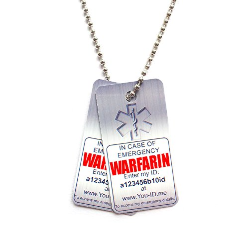 WARFARIN Necklace, Medical Alert Necklace, Identity Tag, Emergency ID Tags. Two x Printed PVC Dog Tags Anticoagulant Blood Thinning Warfarin Users