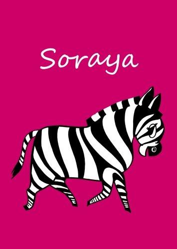 personalisiertes Malbuch / Notizbuch / Tagebuch - Soraya: Zebra - A4 - blanko