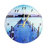 12 pulgadas vintage relojes de pared estilo flores decorativos relojes de pared de madera redondo reloj de pared no hace tictac números árabes silenciosos interior Clockslangen puente Langen