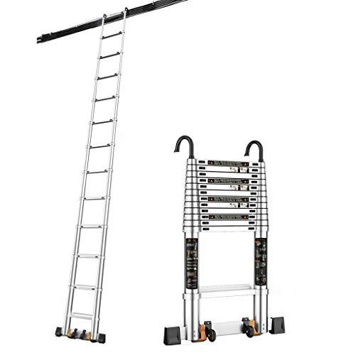 Zzmop Scala telescopica, Scala a soppalco, Alluminio con Ganci Staccabili, Scala a pioli Regolabile in Altezza capacità di carico 150 lbs / 150kg
