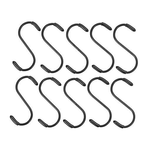 VAVAMAX 5/10 ganchos en forma de S para cocina, hogar, soportes de almacenamiento organizador de acero inoxidable ganchos y rieles (10 piezas estilo 2)