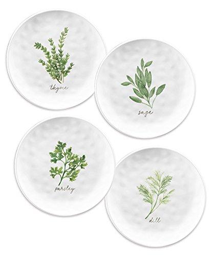 Juego de 4 platos laterales de melamina blanca para jardín, hierbas, 21,5...