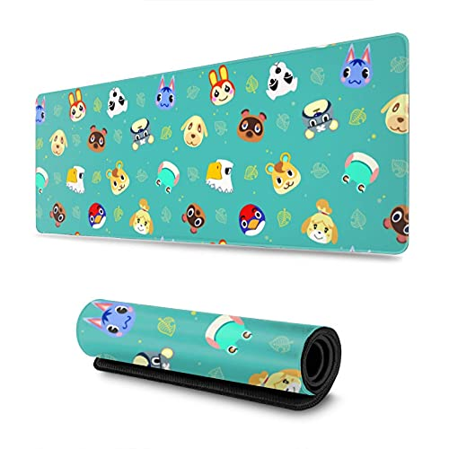 Gaming Mouse Pad Animal Crossing XXL XL Large Mouse Pad Mat Long Extended Mousepad Desk Pad Non-Slip Rubber Mice Pads Stitched Edges (31.5x11.8x0.12 Inch)