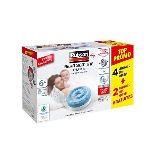 pas cher un bon Rubson AÉRO 360 ° Pure 6 Tablette neutre, cassette remplaçable 450g, sans humidité et sans odeur…