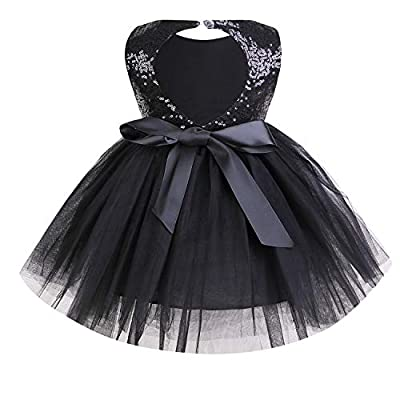 YOUNGER TREE Toddler Baby Girls Dress Sleeveless Sequins Party Dresses Princess Lace Tulle Tutu Dress Black