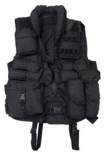 Gilet Tactical avec garniture en cuir noir
