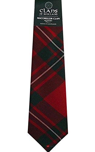 I Luv Ltd MacGregor Clan 100% Wool Scottish Tartan Tie