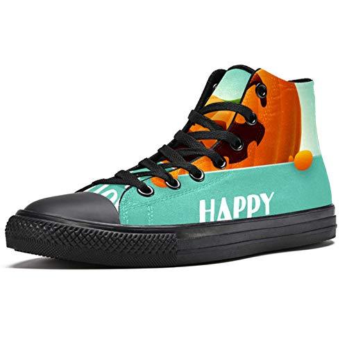 Anmarco Feliz Halloween Sonrisa Cara Pumplin High Top Sneakers Moda Encaje hasta Zapatos de lona Casual Escuela caminar zapatos para hombres adolescentes niños, color Multicolor, talla 43.5 EU