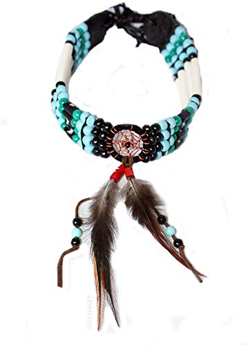 Hejoka-Shop NEU Indianer Halsschmuck Choker Massiv EDEL mit Traumfänger echte Knochenröhrchen Perlen Bone Hairpipes feine Federn Dreamcatcher Türkis Schwarz