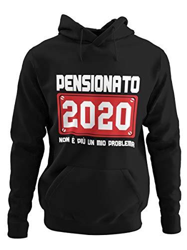 STAMPATEK Felpa con Cappuccio Pensionato 2020 Idea Regalo Divertente Festa a Sorpresa Pensione Maglione con Cappuccio e Tascone