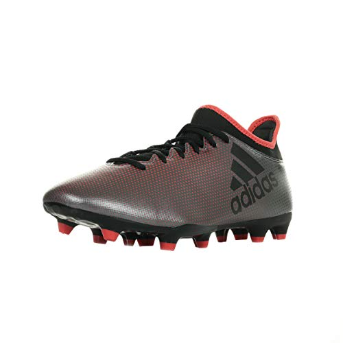 adidas X 17.3 FG Chaussures de Football américain Homme, Gris/Noir/Rouge Corail, 44 2/3 EU