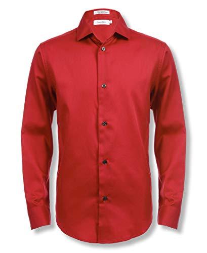 Calvin Klein Boys' Little Long Sleeve Sateen Dress Shirt, Dark Red, 05