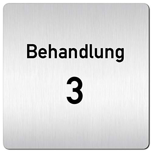 Kinekt3d Leitsysteme XXL Schild - Türschild • 125 x 125 mm • Behandlung - Behandlungsraum 3 • 1,5 mm Aluminium Vollmaterial • 100% Made in Germany