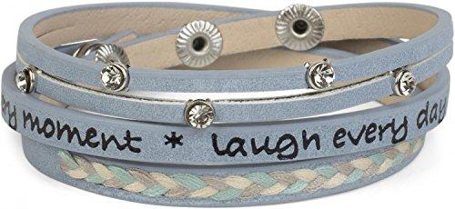styleBREAKER Wickelarmband mit Strasselement, Schriftzug und filigranem Flechtelement, Armband, Damen 05040097, Farbe:Hellblau