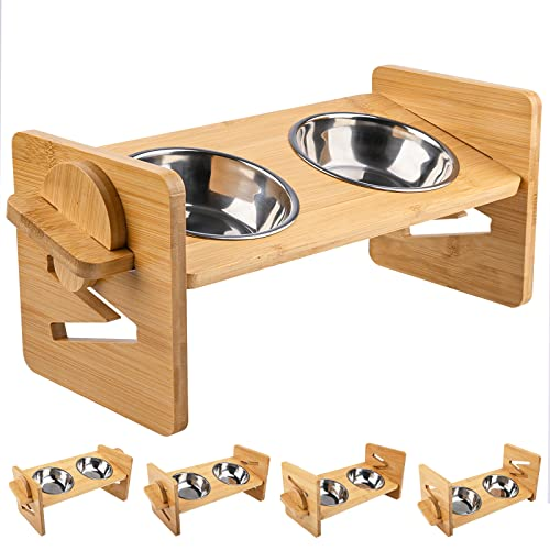 Elevated Pet Bowl Feeder for Cats and Puppy, Adjustable Raised Bamboo Tilted Food Water Stand Feeder with 2 Stainless Steel Bowls and Anti Slip Feet