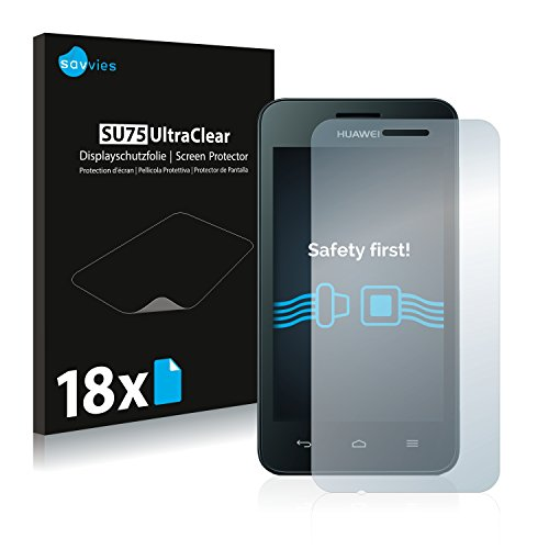 Savvies 18x Schutzfolie kompatibel mit Huawei Ascend Y330 Bildschirmschutz-Folie Ultra-transparent