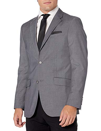 Perry Ellis Men's Two Piece Finished Bottom Slim Fit Suit, Dark Grey Dobby, 36 Regular
