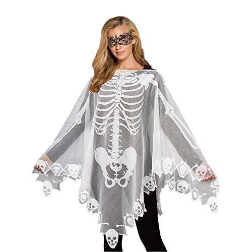 Halloween Costume Skeleton Costume Poncho Halloween Mask Lace Ball Mask 2PCS (White)